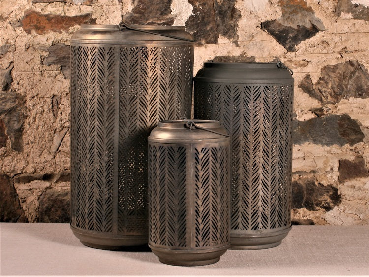 Set of Zinc Hurricane Lamps