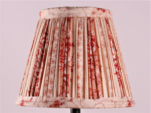 Cream With Red And Pink Flower Silk Lampshade