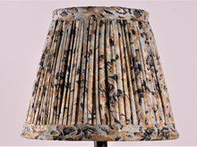 Load image into Gallery viewer, Sky Blue Navy And Ochre Silk Lampshade