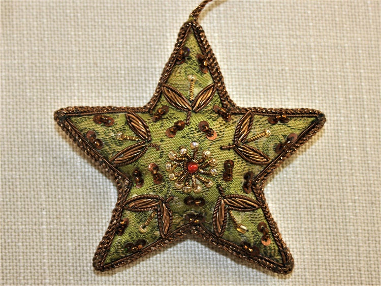 Embroidered Green Satin Star