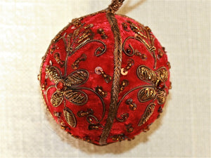 Red Embroidered Velvet Bauble