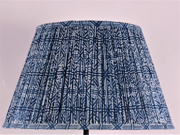 Indigo Grid Cotton Lampshade