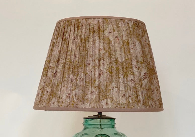 Pink and cream floral silk lampshade
