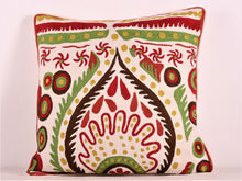 Load image into Gallery viewer, Red Green And Cream Kashmiri Crewel Cushion