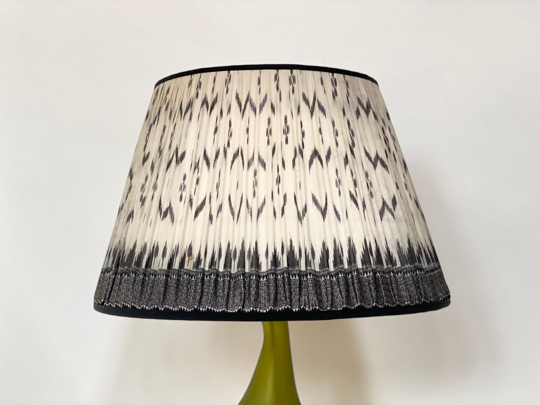 Black and White Ikat Silk Lampshade