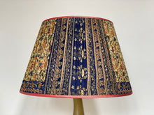 Load image into Gallery viewer, Coral dark cream and blue paisley silk lampshade
