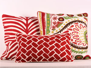 Red And Cream Kashmiri Crewel Cushion