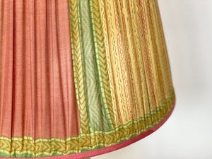 Yellow pink and green Silk Lampshade