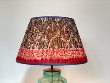Load image into Gallery viewer, Dark navy paisley silk lampshade