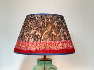 Dark navy paisley silk lampshade