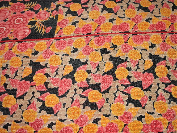 Pink Yellow And Ecru Kantha Quilt KA38