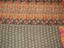 Load image into Gallery viewer, Pink Yellow And Ecru Kantha Quilt KA38