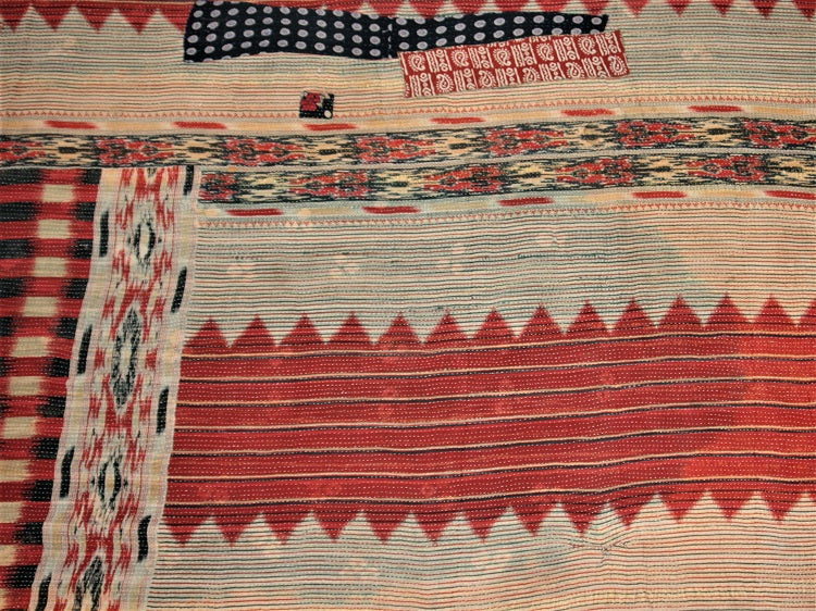 Red Navy And Cream Kantha Quilt