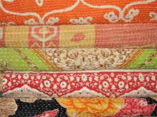 Load image into Gallery viewer, Red Navy And Cream Kantha Quilt