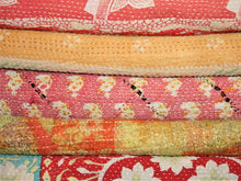Load image into Gallery viewer, Orange And Yellow Kantha Quilt KA49