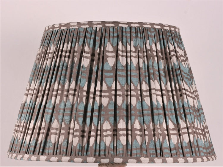 Teal And Grey Acorn Cotton Lampshade