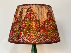 Red and Ox Blood Batik Silk Lampshade