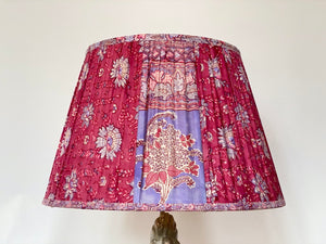 Pink and periwinkle paisley silk lampshade