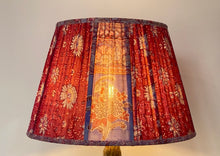 Load image into Gallery viewer, Pink and periwinkle paisley silk lampshade