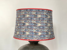 Load image into Gallery viewer, Blue kimono silk stretched sloped drum lampshade