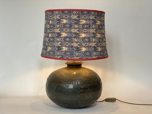 Blue kimono silk stretched sloped drum lampshade