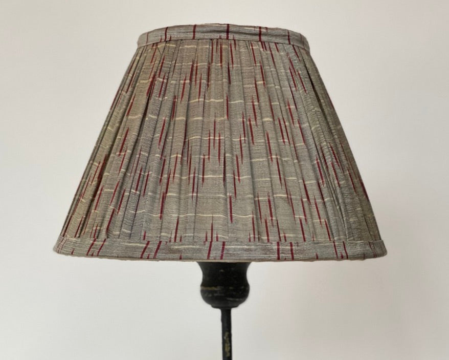 Grey and red silk saree lampshade