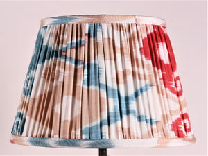 Red Blue And Ecru Silk Ikat Lampshade