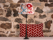 Load image into Gallery viewer, Red Blue And Ecru Silk Ikat Lampshade