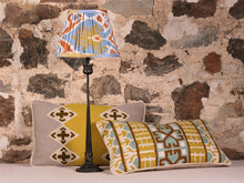 Load image into Gallery viewer, Lime And Blue Silk Ikat Lampshade