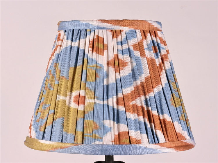 Lime And Blue Silk Ikat Lampshade
