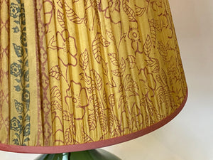 Yellow and pink silk lampshade