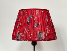 Load image into Gallery viewer, Cherry red and blue floral Silk Lampshade