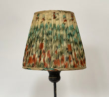 Load image into Gallery viewer, Teal & orange ikat silk saree lampshade