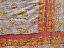 Load image into Gallery viewer, Coral and yellow kantha