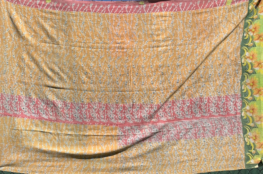Orange and pink kantha