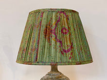 Load image into Gallery viewer, Shot green and lilac silk lampshade