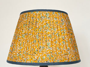 Yellow liberty type print silk lampshade