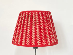 Red and cream chevron silk lampshade