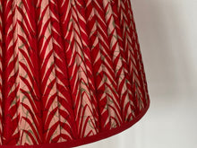 Load image into Gallery viewer, Red and cream chevron silk lampshade