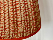 Load image into Gallery viewer, Orange and cream silk saree lampshade