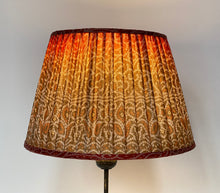 Load image into Gallery viewer, Toffee and burnt orange bandari silk lampshade