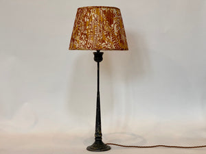 Ochre and brown silk saree lampshade