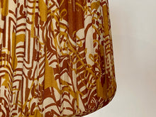 Load image into Gallery viewer, Ochre and brown silk saree lampshade