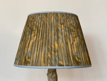 Load image into Gallery viewer, Ochre Green and blue swirl silk lampshade
