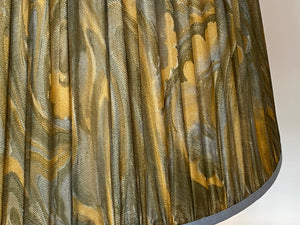 Ochre Green and blue swirl silk lampshade