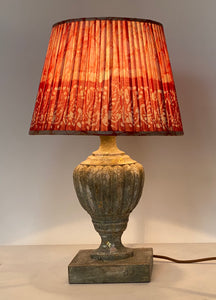 Red and white batik lampshade