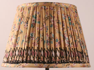Pale Yellow Floral with Black Border Silk Lampshade