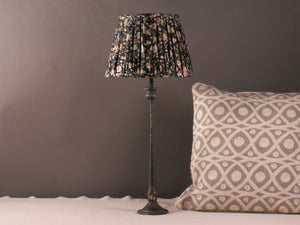 Navy with Floral Silk Lampshade