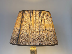 Mushroom and pale blue paisley silk lampshade