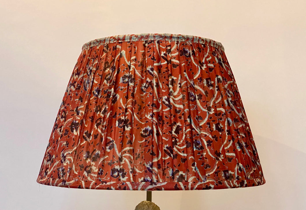 Raspberry and blue paisley silk lampshade
